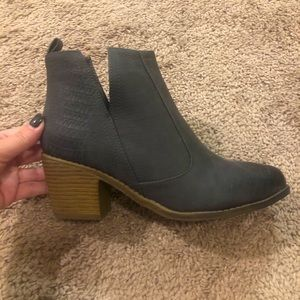 Boutique Gray Wedge Booties Sz 37 NWOT